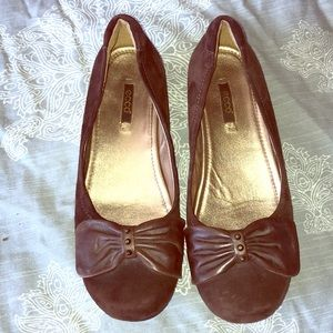 Ecco brown leather suede bow toe flat women's 39